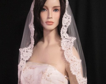 32 inches, bridal veil, wedding veil with 4 inch Alencon lace, French lace, lace veil  -  in white, light ivory, and ivory