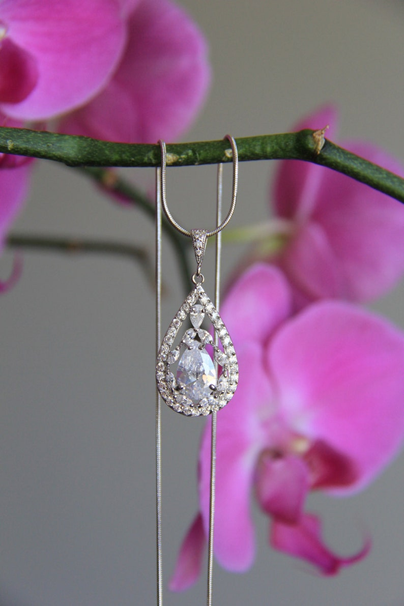 Bridal wedding necklace wedding earrings bridal jewelry wedding jewelry round cubic zirconia CZ jewelry bridesmaid jewelry wedding
