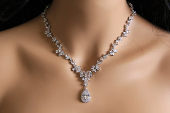 The Princess Necklace Cz Jewelry Wedding Jewelry Bridal Etsy