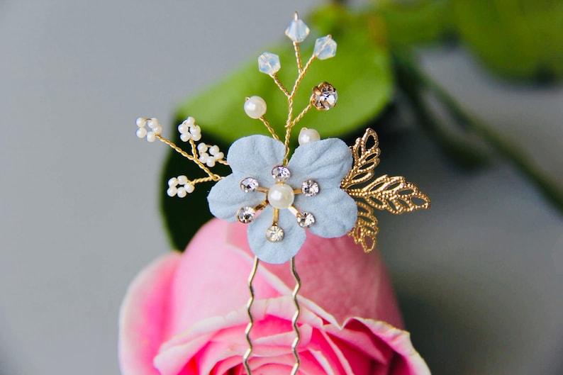 Something Blue Flower Bridal hairpiece bridal hair comb flower hair comb rhinestone hairpiece rhinestone hair comb wedding hairpiece