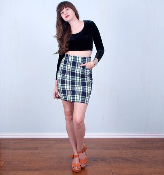 39d8fd937 90's Plaid Pencil Skirt / Mini High Waisted Grunge School | Etsy