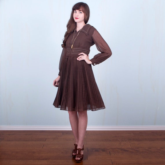 60's Dress / Mod Collar Brown & White Sheer Poet S