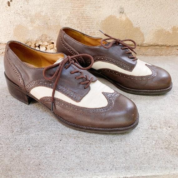 Chunky Heel Oxford Boots 90's Leather Booties Nine