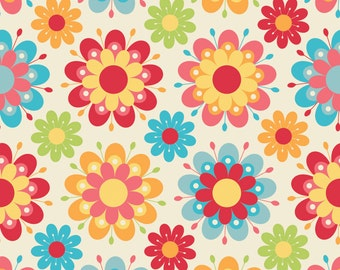 FLANNEL Just Dreamy 2 Cream with Pink Red Green Blue Flowers 100% Cotton by Riley Blake  Sold by 4th Half 3/4  or  Yard Sewing /Quilting