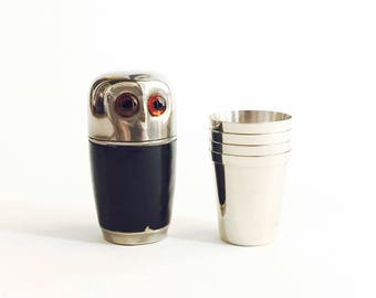 Vintage Metal Owl Shot Glasses