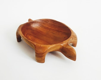 Vintage Wood Turtle Bowl / Catch All