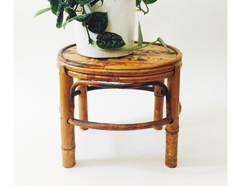 Vintage Oval Bamboo Plant Stand