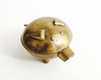 Vintage Brass Pig Box
