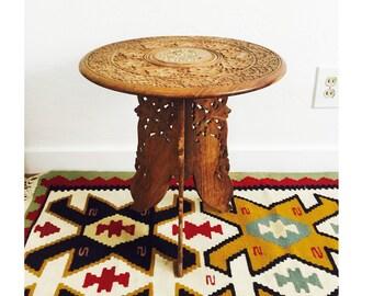 Vintage Carved Wood Side Table