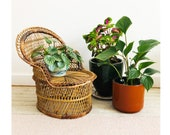 Vintage Small Wicker Chaise Lounge Chair Plant Stand FREE SHIPPING