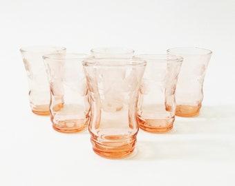 Vintage Blush Pink Shot Glasses / Set of 6