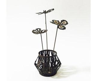 Vintage Brutalist Metal Flower Pot Sculpture