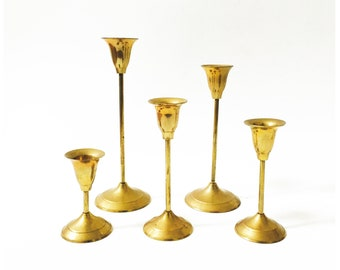 Vintage Graduated Brass Candlestick Holders / Set of 5