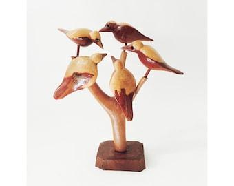 Vintage Folk Art Wood Birds in Tree Sculpture