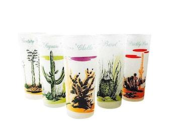 Vintage Cactus Tumblers / Set of 5 / Blakely