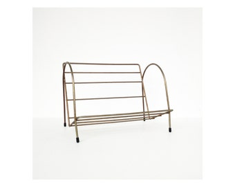 Vintage Brass Wire Book Rack / Table Top Book Stand or Shelf