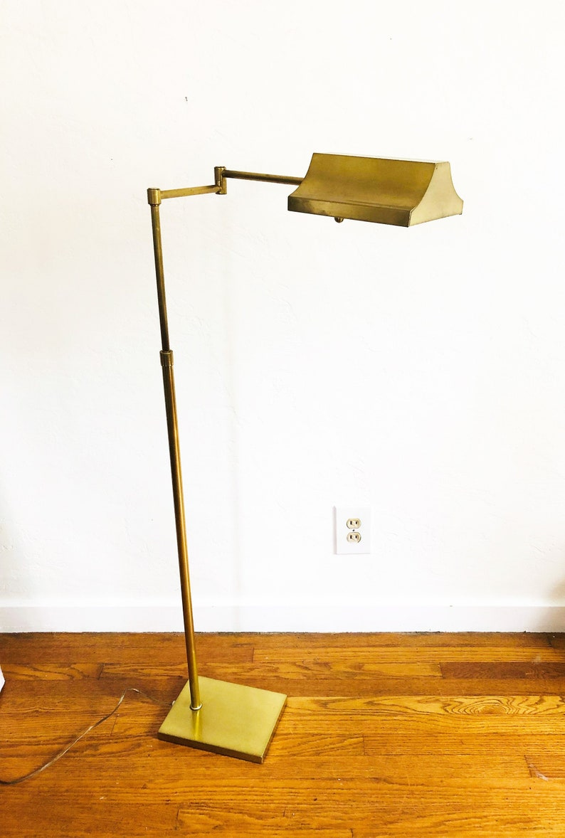 Image of: Vintage Adjustable Brass Pharmacy Floor Lamp Swing Arm Lamp Etsy