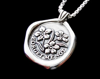 Forget me not necklace Sterling Silver jewelry pendant Forget-me-not necklace pendant flower necklace Wax seal necklace N-211 FF