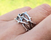 Thorn Ring Unique Ring Jewelry Sterling Silver Rings Crown of Thorns Tree Branch Rings For Men and Women Sterling Silver Ring R-214234 -