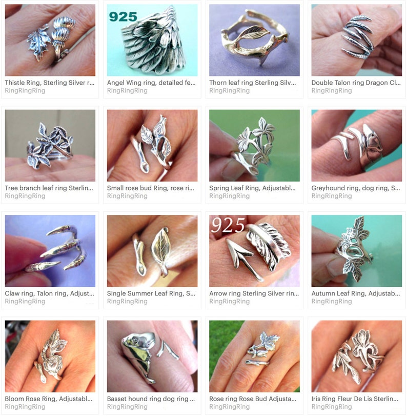 Claw ring Unique Sterling Silver Jewelry Adjustable ring Sterling silver ring Talon ring unique bird ring Dragon Not spoon rings R-025