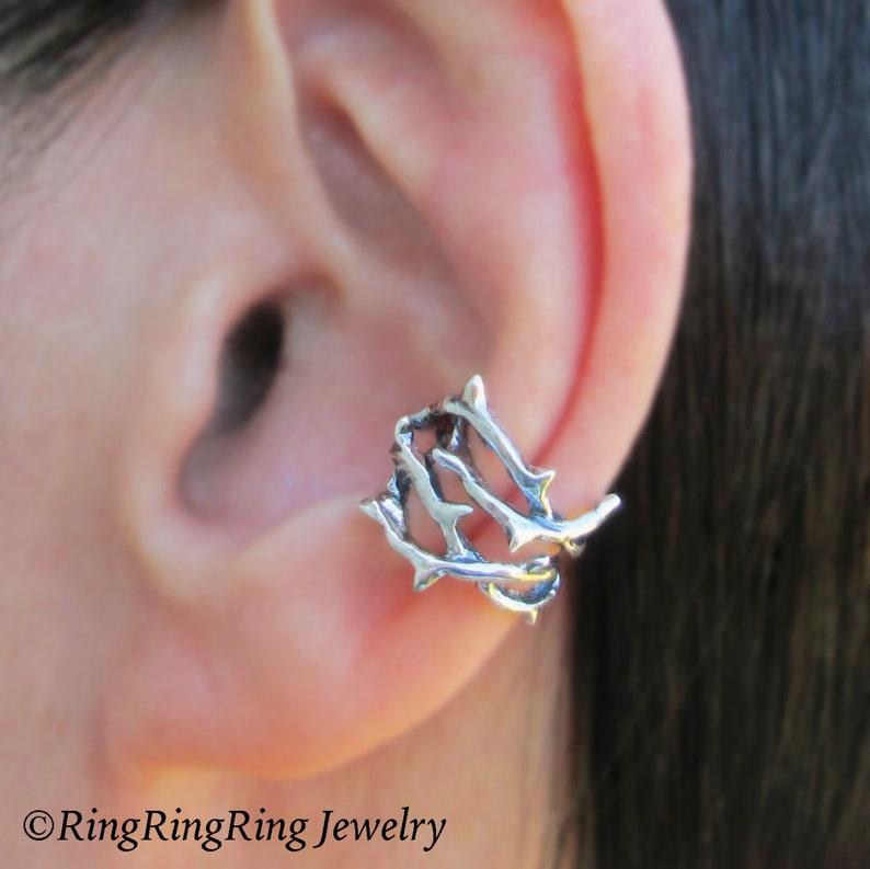 ae51ba3a18d Thorn ear cuffs Sterling Silver earrings jewelry handmade | Etsy