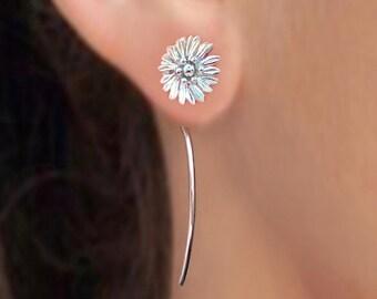 Shasta daisy bloem oorbellen sterling zilveren oorbellen sieraden dangle oorbellen schattige kleine Stud Earrings stud earrings lange stammen oorbellen Threader E-171