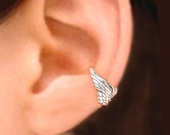 Tiny Angel Wing Ear Cuffs Sterling Silver Earrings Wing Jewelry wing earrings Sterling silver Ear Cuff Men & Women ewelry Handmade C173 -