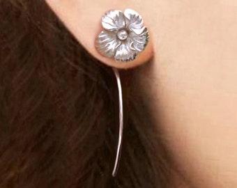 Hawaiian Hibiscus bloem oorbellen sterling zilveren oorbellen sieraden dangle oorbellen schattige kleine Stud Earrings stud earrings lange stammen oorbellen unieke E-196