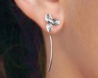 hortensia bloem oorbellen sterling zilveren oorbellen sieraden dangle oorbellen schattige kleine Stud Earrings stud earrings lange stammen oorbellen unieke Threader E-097