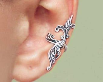 Iris Wave ear cuffs Sterling Silver earrings Iris earrings Sterling silver ear cuff non pierced flower ear cuff ear clip jewelry C-087