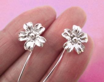 Cherry Blossom bloem oorbellen sterling zilveren oorbellen sieraden dangle oorbellen schattige kleine stud oorbellen lange stengel oorbellen Threader E-093