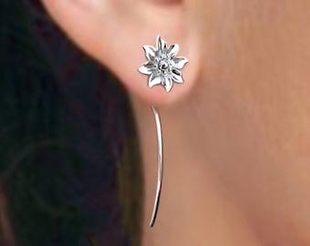 Clematis flower earrings sterling silver earrings jewelry dangle earrings cute small stud Earrings long stem earrings unique Threader E-099