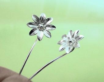 Marguerite daisy bloem oorbellen Sterling zilveren oorbellen sieraden Dangle Oorbellen schattige kleine stud oorbellen lang vloeien voort oorbellen Threader E-095
