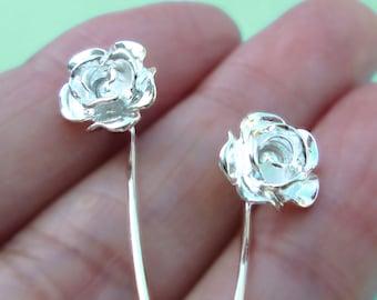 Rose bloem oorbellen sterling zilveren oorbellen sieraden dangle oorbellen schattige kleine stud oorbellen lange stengel oorbellen unieke bruiloft E-094