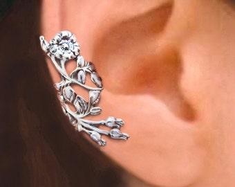 Wild Rose Ear Cuff Sterling Silver earrings Rose jewelry Rose earrings Sterling silver ear cuff non pierced ear clip earcuff C-105