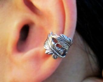 Double feather ear cuffs Sterling Silver earrings Feather earrings Sterling silver ear cuff for men & women ear clip C-199 DD