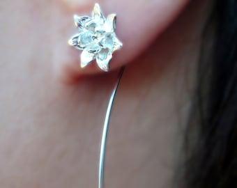 Lotus Earrings Long Stem Earrings flower earrings sterling silver earrings Dangle earrings stud earrings small earring wedding gift  E-128