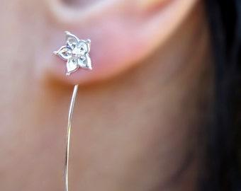 Ster Jasmine bloem oorbellen sterling zilveren oorbellen sieraden dangle oorbellen schattige kleine stud oorbellen lange stengel oorbellen Threader E-170