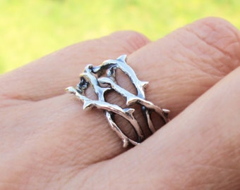 Thorn Ring Unique Ring Jewelry Sterling Silver Rings Crown of Thorns Tree Branch Rings For Men and Women Sterling Silver Ring R-214234