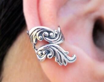 Dancing Feather ear cuffs No.2 Sterling Silver earrings Feather earrings Sterling silver ear cuff ear clip jewelry handmade C-206207 FF