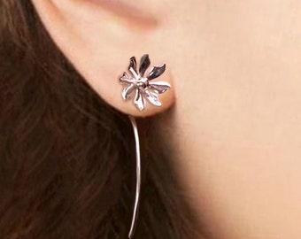 Wild flower Earrings sterling silver earrings jewelry Dangle Earrings cute small stud earrings long stem earrings Daisy Threader E-086 -