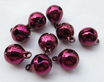 50pcs 10mm Jingle Bells in Grape Purple Color Bronze Bell End Charms b111