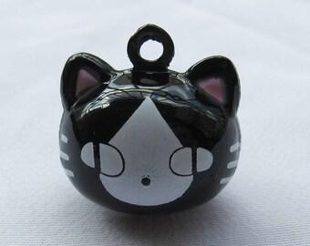 6pcs Black Cat Face Jingle Bells w/ Pink Ears 19mm Bronze Charm b101
