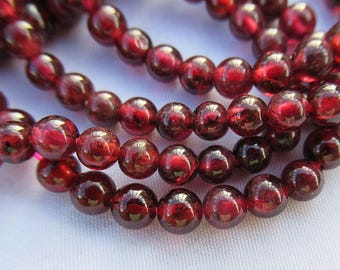 Garnet Beads 4mm Deep Red Garnet Stone Smooth Round Bead g017