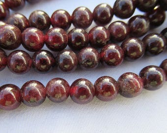 Deep Red Garnet Stone Smooth Round Garnet Beads 6mm Bead Strand g016