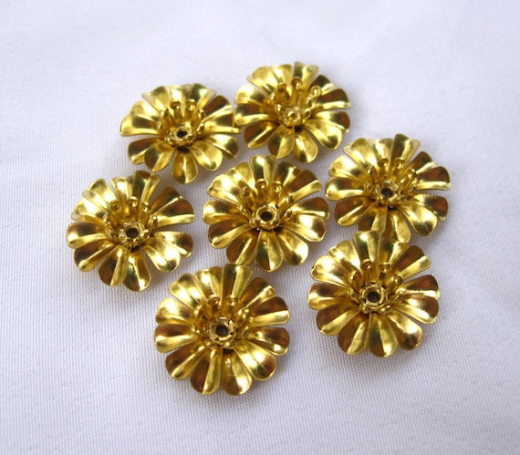 20pcs Small Handmade Brass Flower 11mm Filigree Flower 3 Layers f104