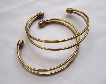 2pcs Bracelet DIY Cuff Bracelet Raw Brass Jewelry Vintage Style t044