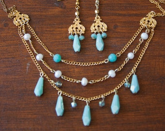 Layered Necklace and Dangle Earring Set