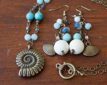 Ammonite Pendant and Shell Dangle Earrings