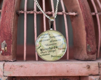 Vintage Ireland Map Necklace - Waterford